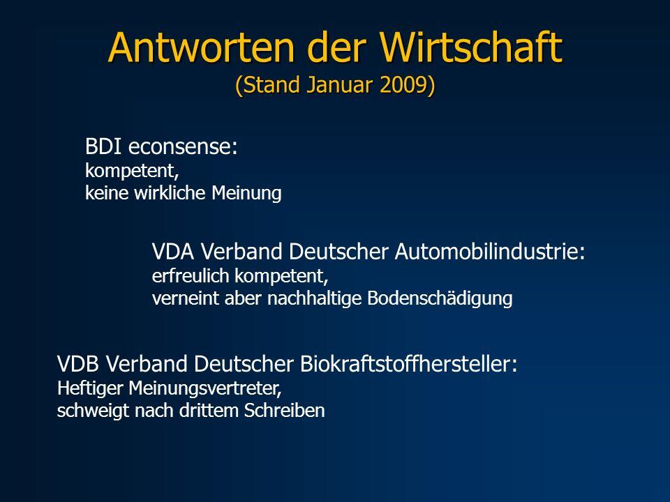 Antworten der Wirtschaft (Stand Januar 2009)