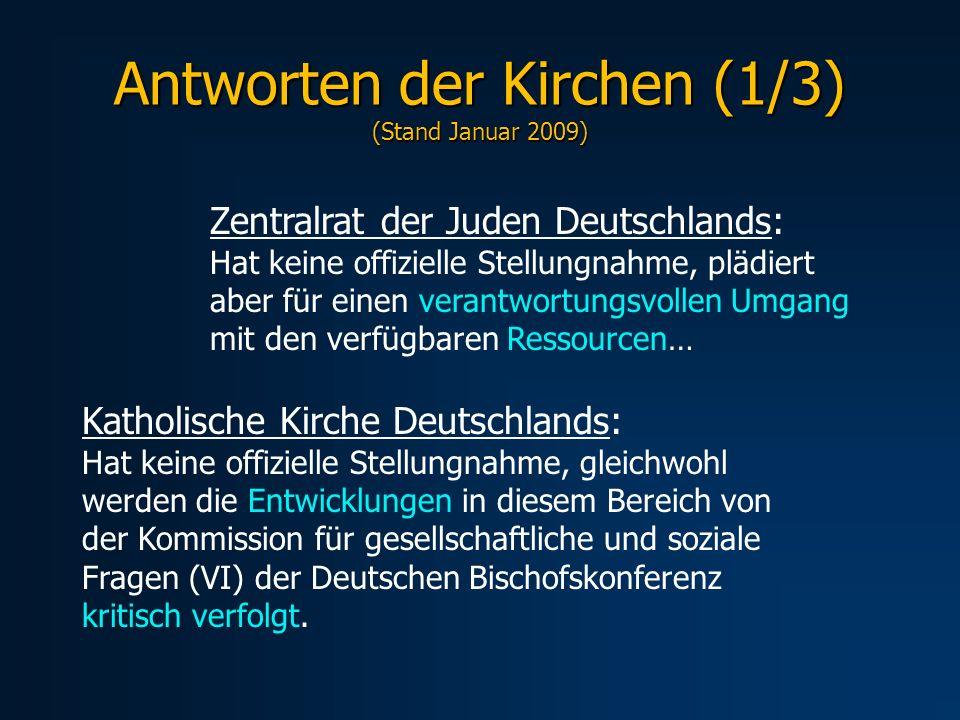 Antworten der Kirchen (1/3) (Stand Januar 2009)