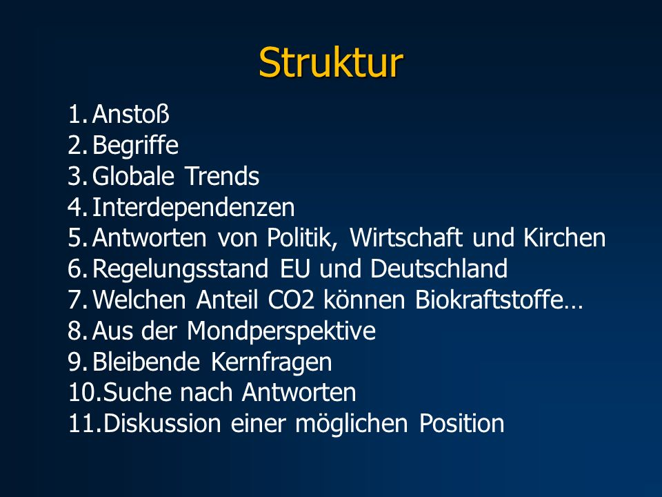 Struktur Anstoß Begriffe Globale Trends Interdependenzen