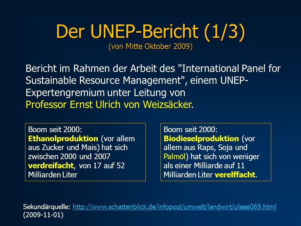 Der UNEP-Bericht (1/3) (von Mitte Oktober 2009)