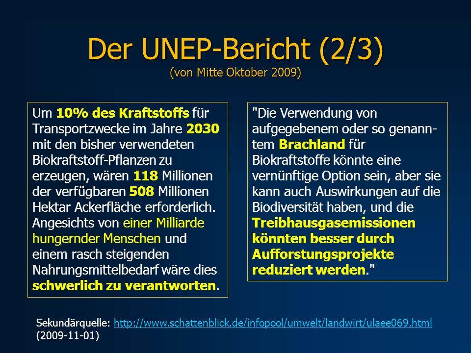 Der UNEP-Bericht (2/3) (von Mitte Oktober 2009)