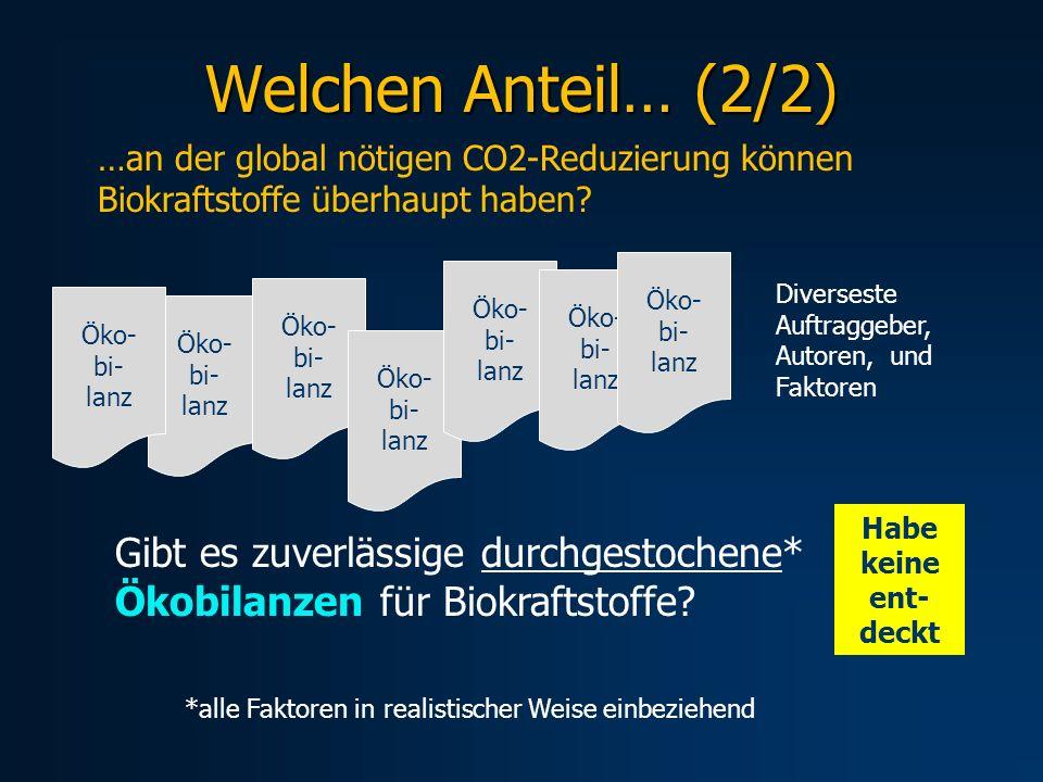 Welchen Anteil… (2/2) …an der global nötigen CO2-Reduzierung können Biokraftstoffe überhaupt haben