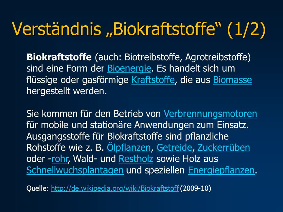 "Verständnis ""Biokraftstoffe (1/2)"