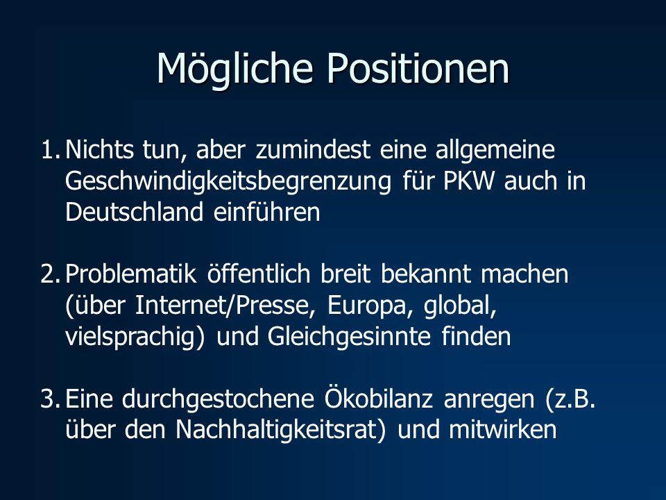 Mögliche Positionen Nichts tun, aber zumindest eine allgemeine Geschwindigkeitsbegrenzung für PKW auch in Deutschland einführen.
