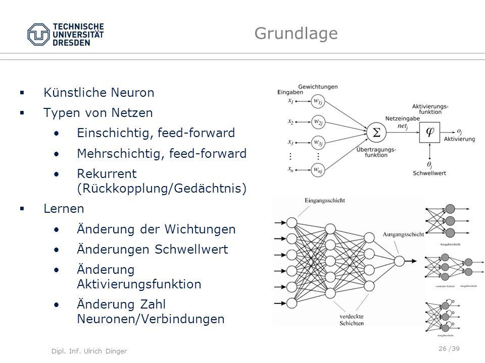 Grundlage Künstliche Neuron Typen von Netzen