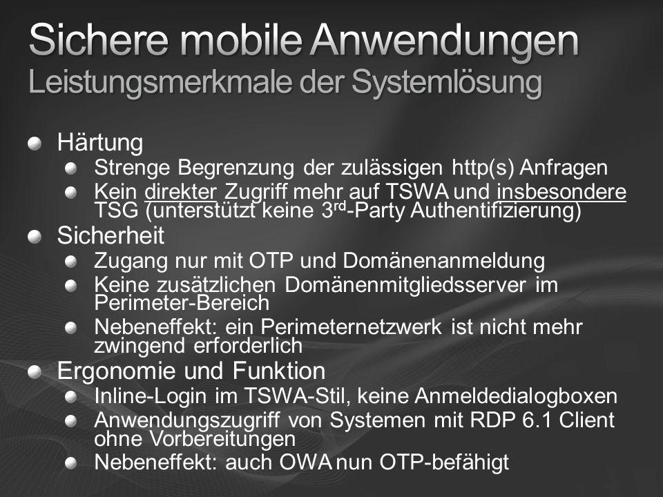 Sichere mobile Anwendungen Leistungsmerkmale der Systemlösung