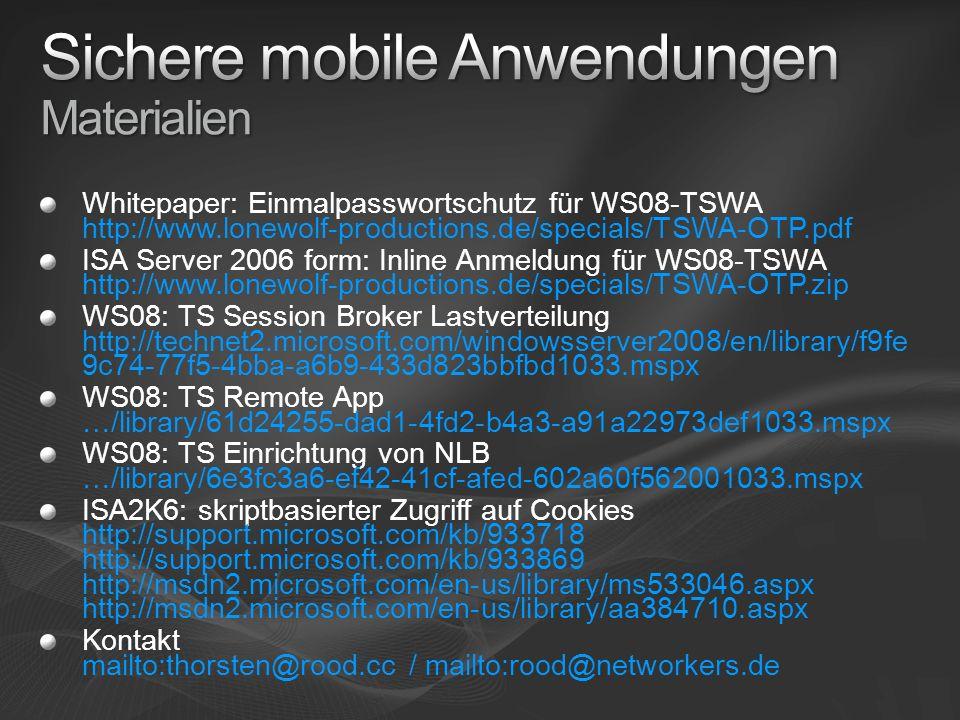 Sichere mobile Anwendungen Materialien