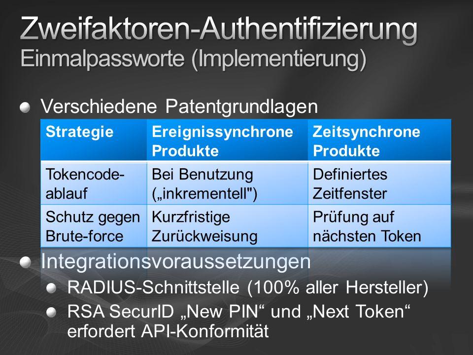 Zweifaktoren-Authentifizierung Einmalpassworte (Implementierung)