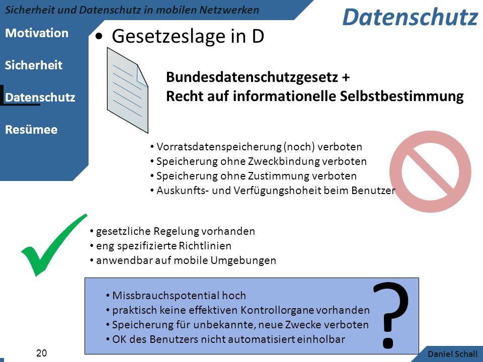 Datenschutz Gesetzeslage in D Bundesdatenschutzgesetz +