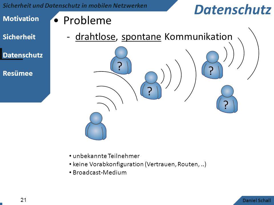 Datenschutz Probleme drahtlose, spontane Kommunikation .. aber auch..