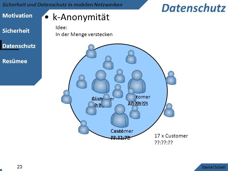 Datenschutz k-Anonymität Idee: In der Menge verstecken Customer
