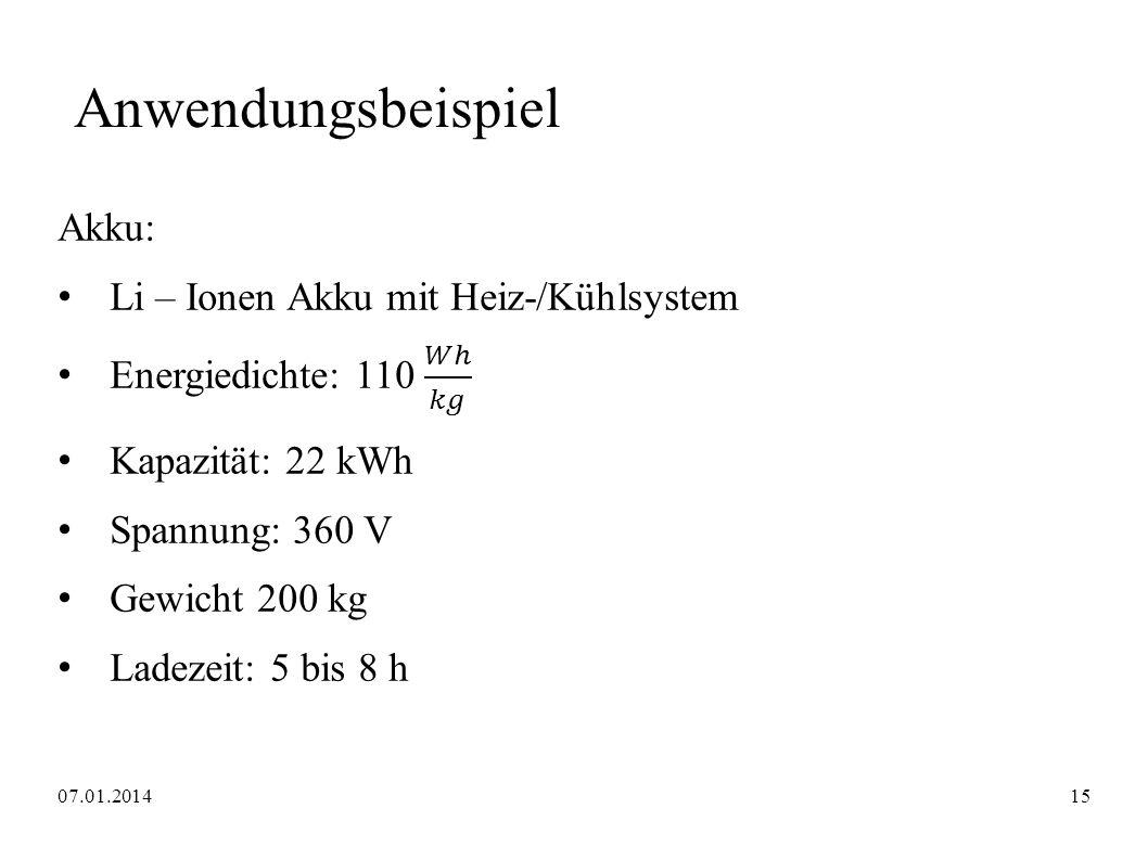 Anwendungsbeispiel Akku: Li – Ionen Akku mit Heiz-/Kühlsystem