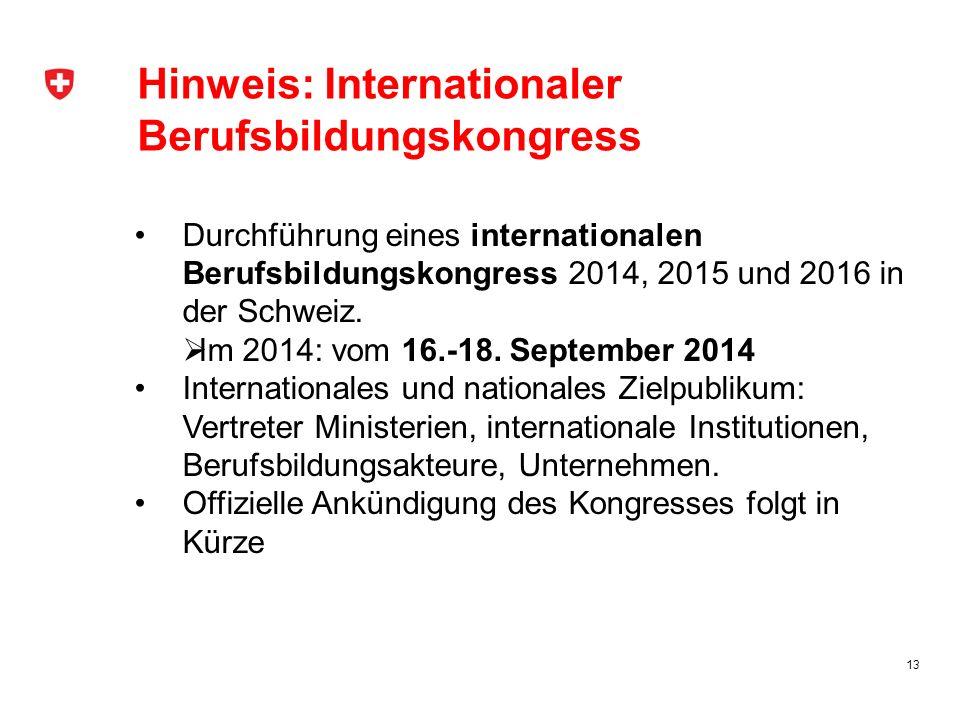 Hinweis: Internationaler Berufsbildungskongress