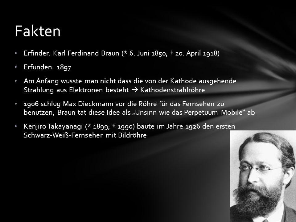 Fakten Erfinder: Karl Ferdinand Braun (* 6. Juni 1850; † 20. April 1918) Erfunden: 1897.