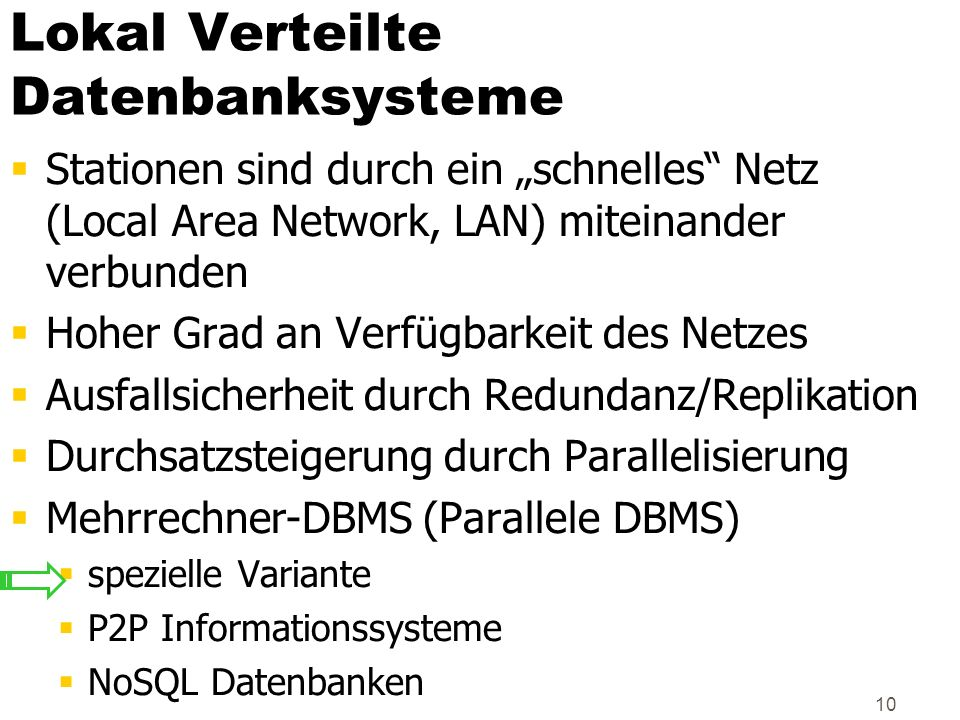 Lokal Verteilte Datenbanksysteme