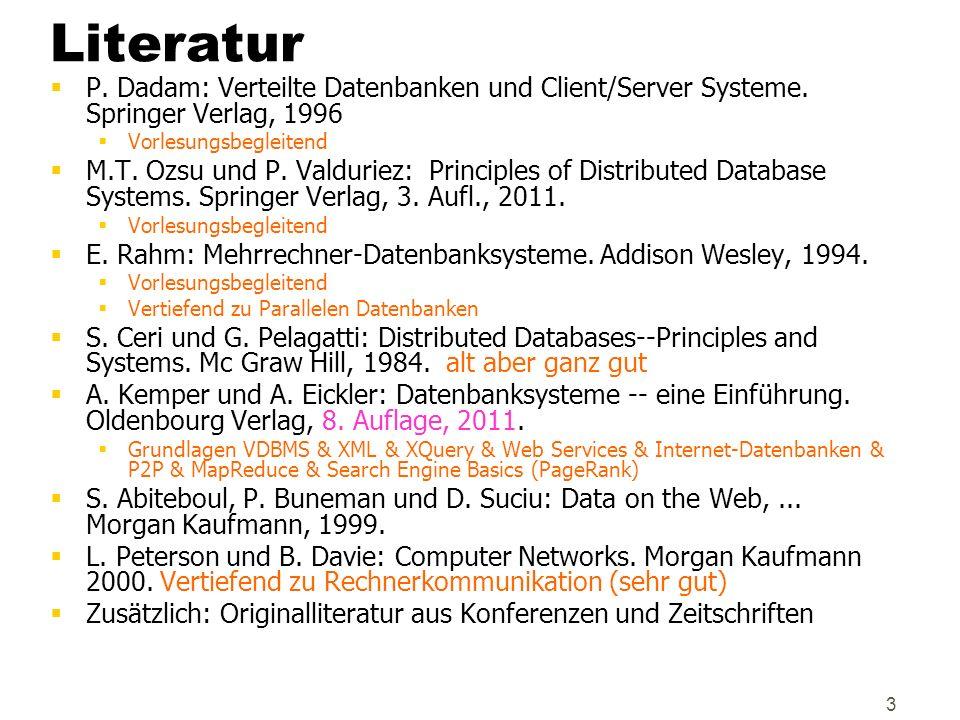 Literatur P. Dadam: Verteilte Datenbanken und Client/Server Systeme. Springer Verlag, 1996. Vorlesungsbegleitend.