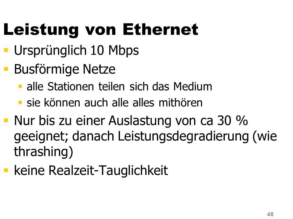 Leistung von Ethernet Ursprünglich 10 Mbps Busförmige Netze