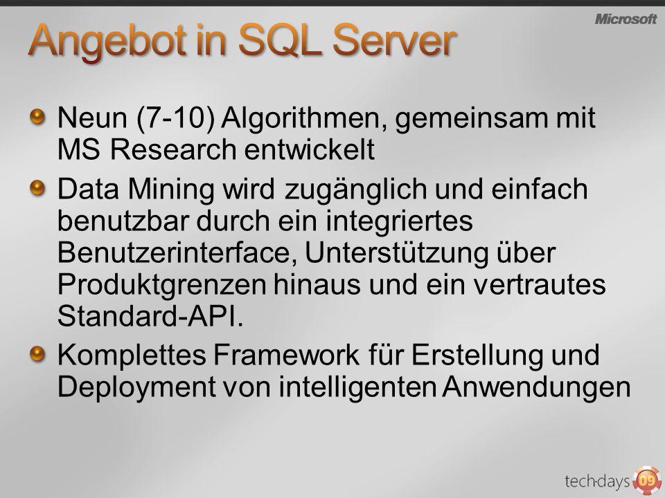 Angebot in SQL Server Neun (7-10) Algorithmen, gemeinsam mit MS Research entwickelt.