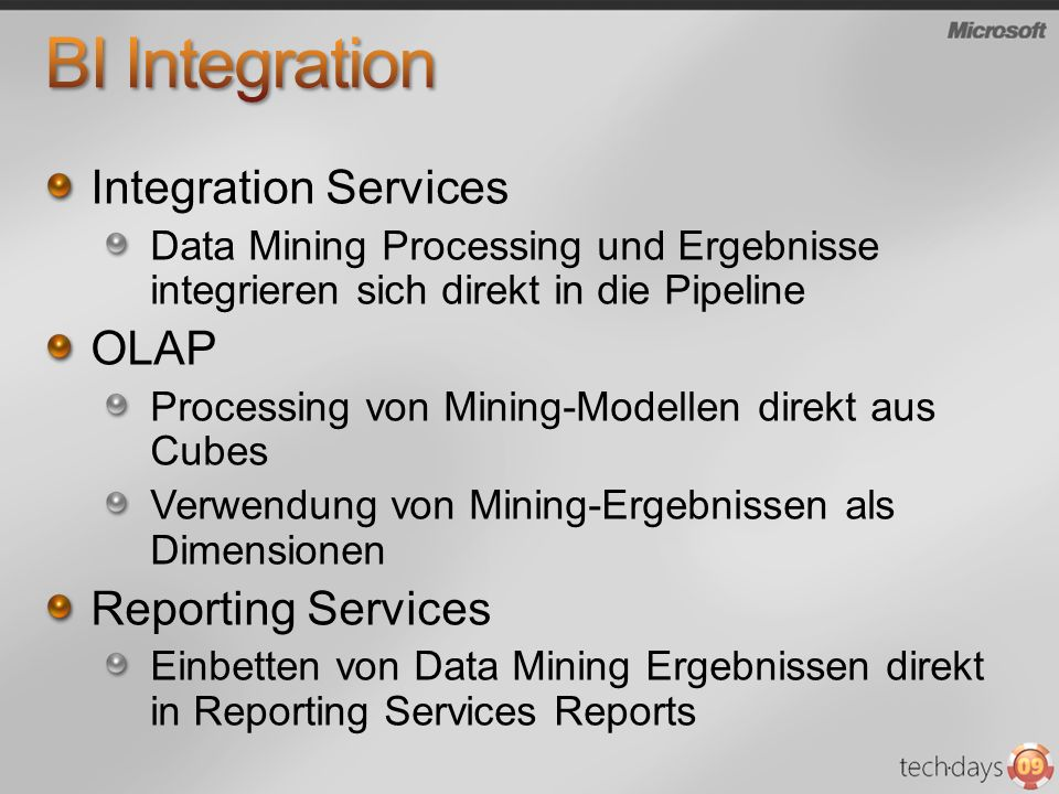 BI Integration Integration Services OLAP Reporting Services