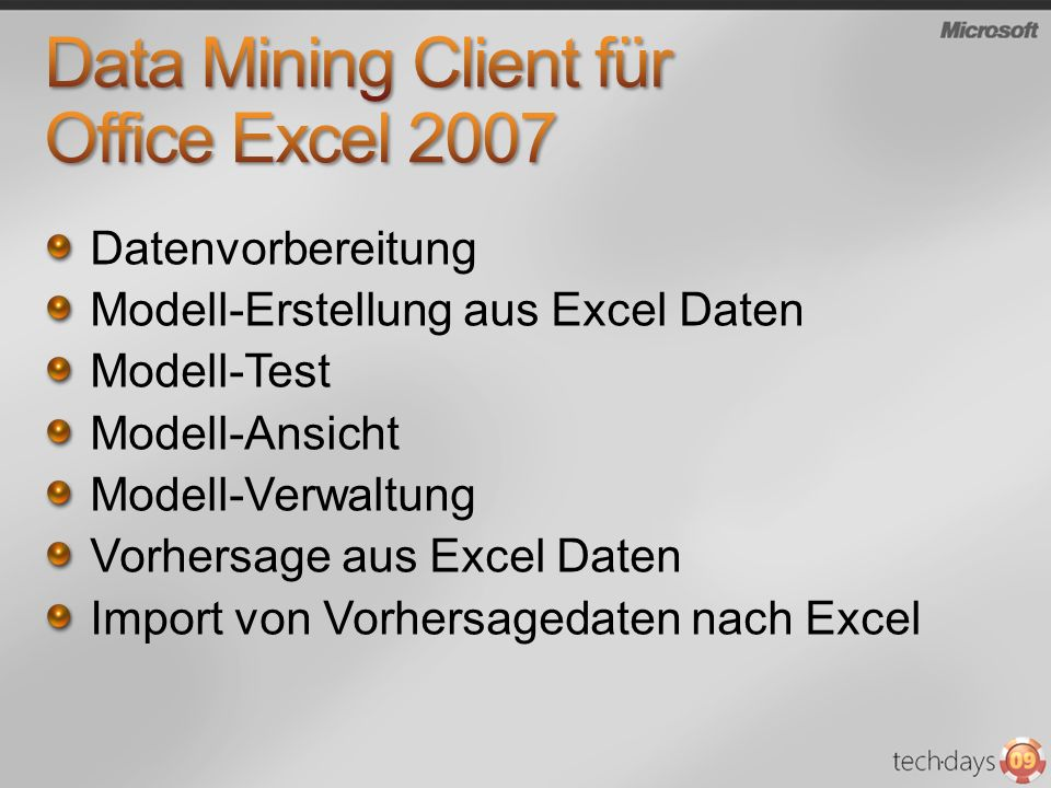 Data Mining Client für Office Excel 2007