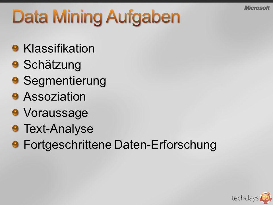 Data Mining Aufgaben Klassifikation Schätzung Segmentierung
