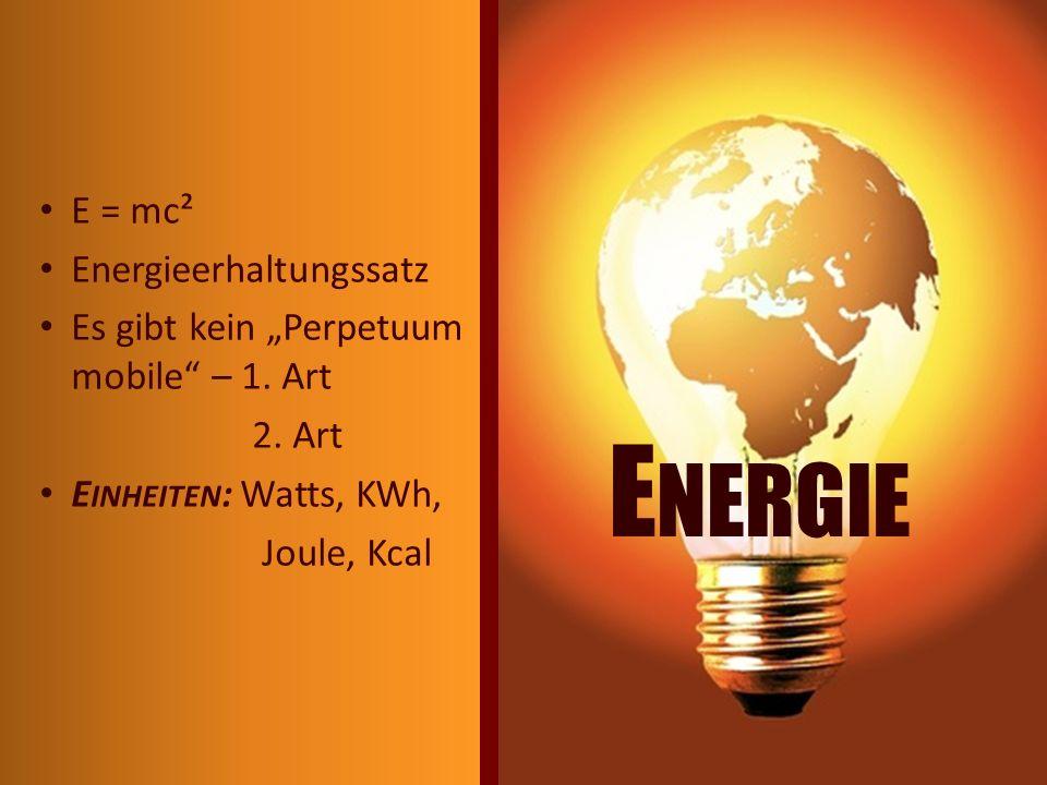 Energie E = mc² Energieerhaltungssatz
