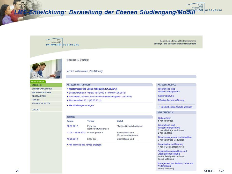 LMS-Entwicklung: Darstellung der Ebenen Studiengang/Modul