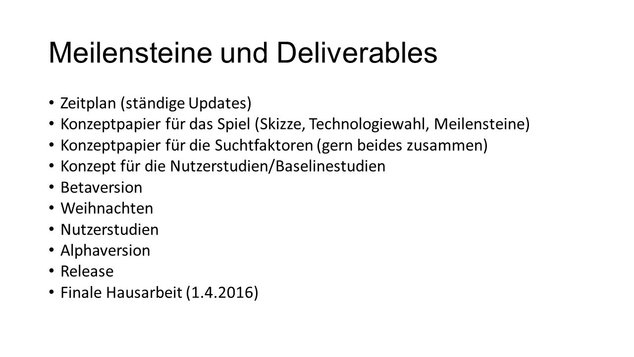 Meilensteine und Deliverables