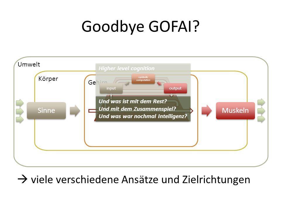 Goodbye GOFAI  viele verschiedene Ansätze und Zielrichtungen Sinne