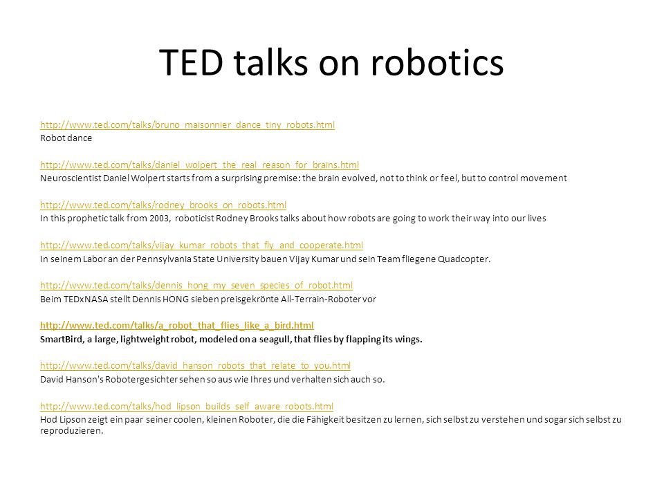 TED talks on robotics