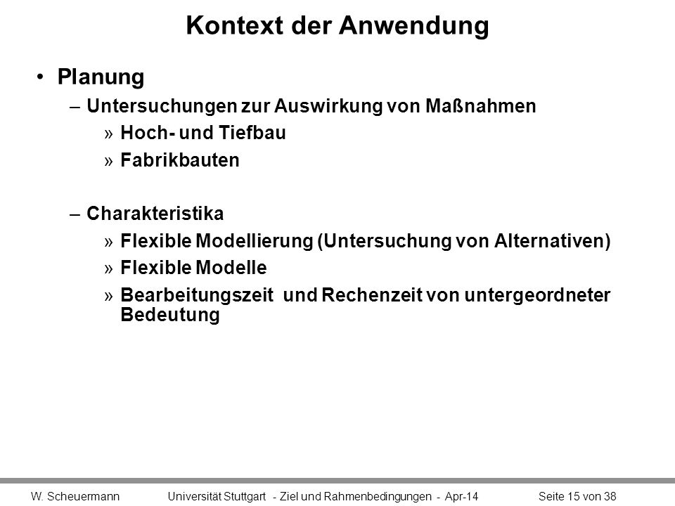 Kontext der Anwendung Planung