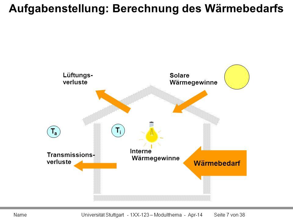 Aufgabenstellung: Berechnung des Wärmebedarfs