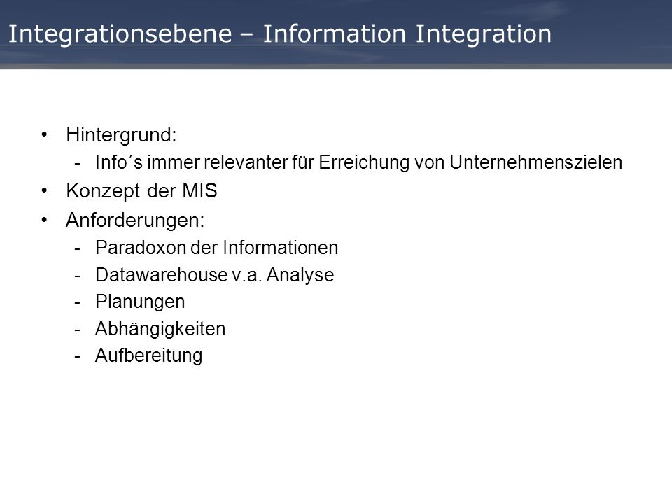 Integrationsebene – Information Integration