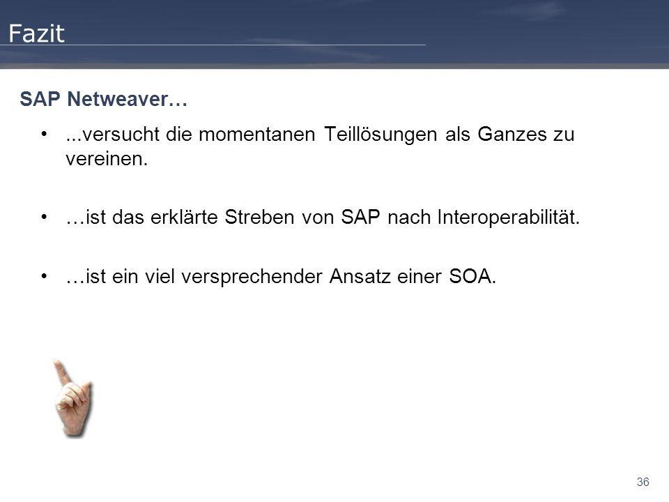 Fazit SAP Netweaver… ...versucht die momentanen Teillösungen als Ganzes zu vereinen. …ist das erklärte Streben von SAP nach Interoperabilität.