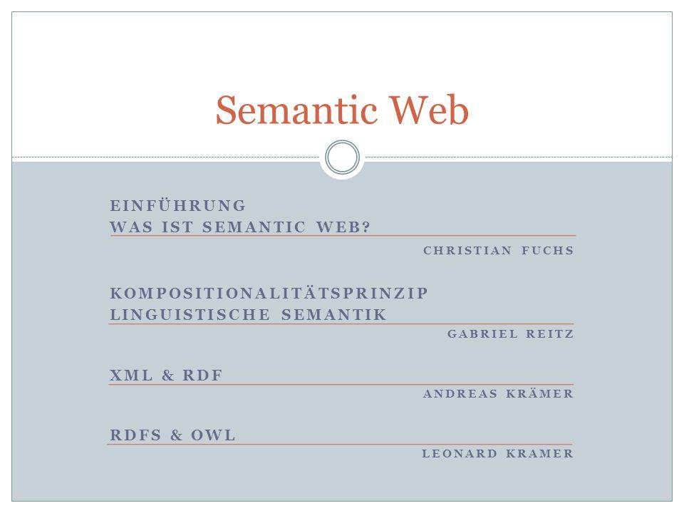 Semantic Web EINFÜHRUNG WAS IST SEMANTIC WEB CHRISTIAN FUCHS