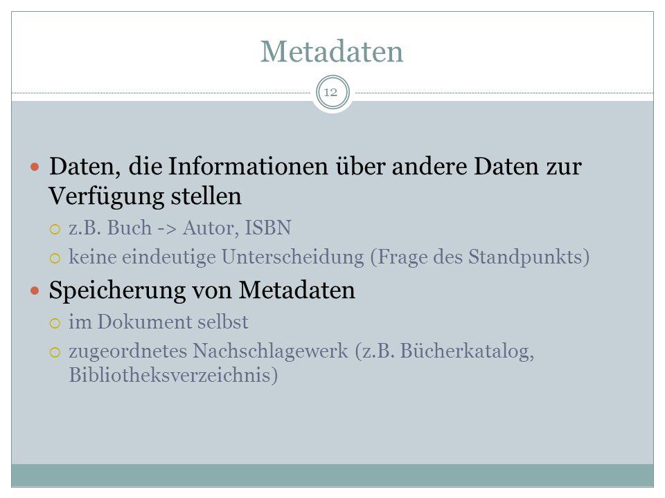 Metadaten Daten, die Informationen über andere Daten zur Verfügung stellen. z.B. Buch -> Autor, ISBN.