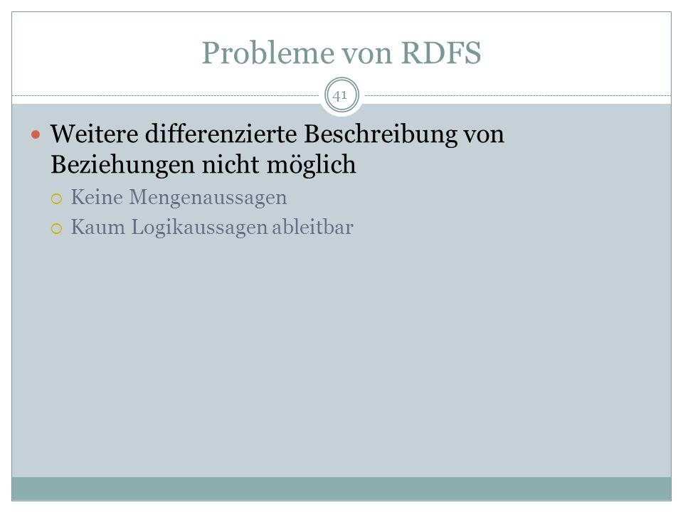 Probleme von RDFS Weitere differenzierte Beschreibung von Beziehungen nicht möglich. Keine Mengenaussagen.