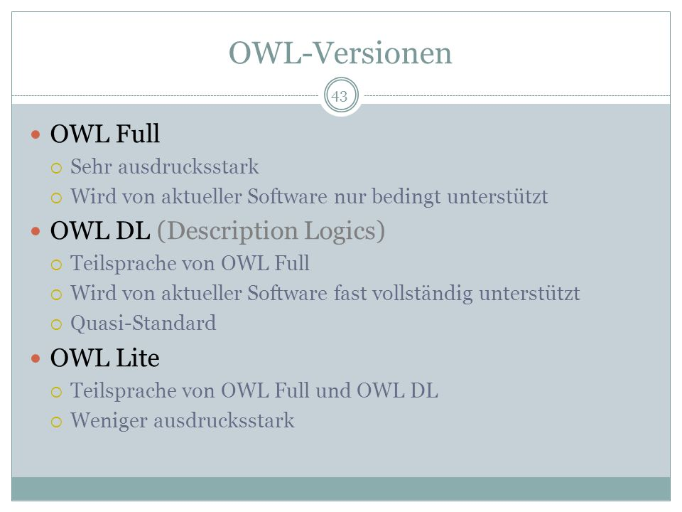 OWL-Versionen OWL Full OWL DL (Description Logics) OWL Lite