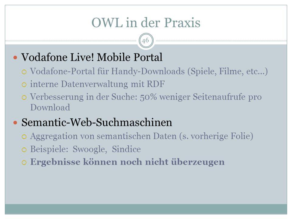 OWL in der Praxis Vodafone Live! Mobile Portal