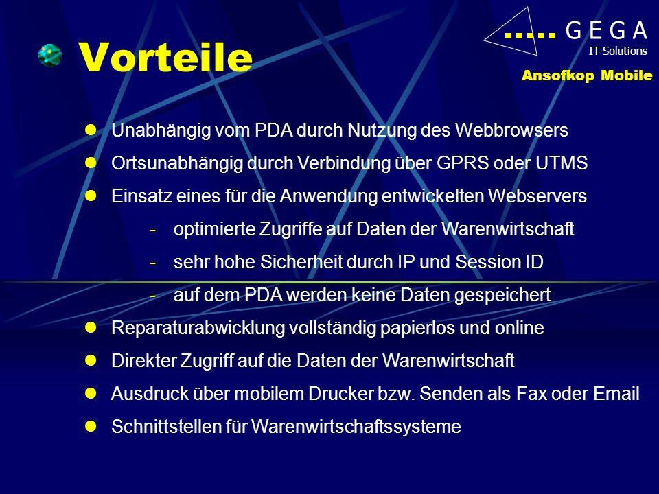 Vorteile Unabhängig vom PDA durch Nutzung des Webbrowsers