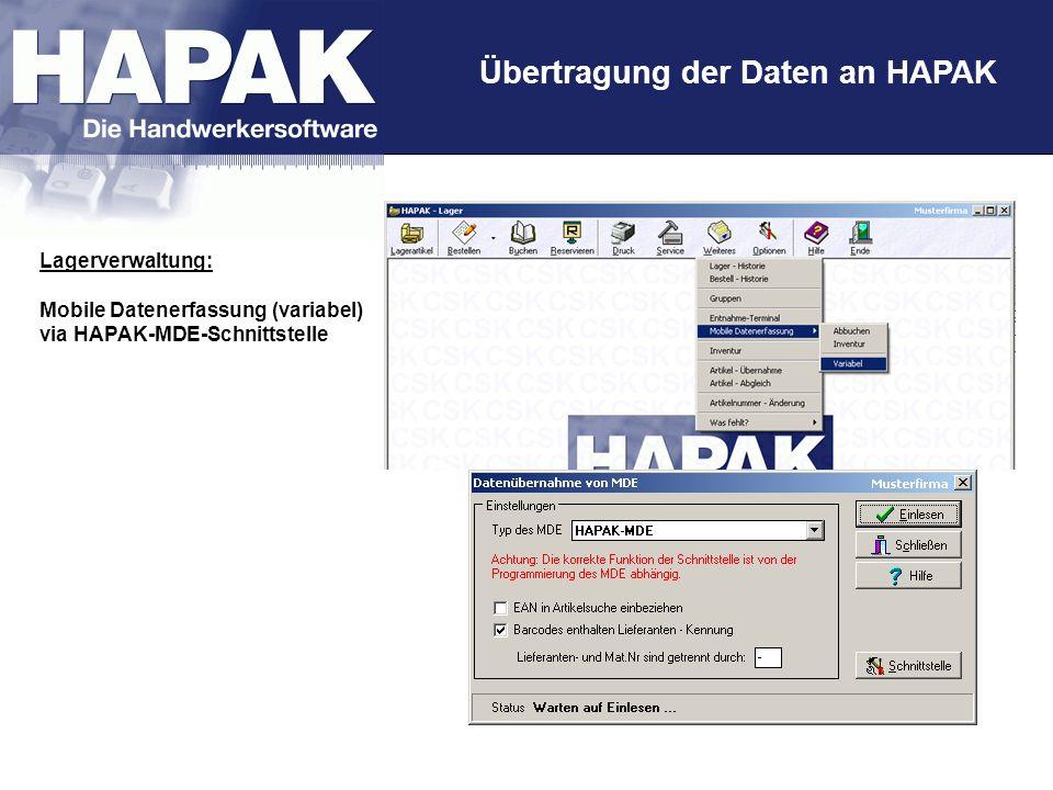 Übertragung der Daten an HAPAK