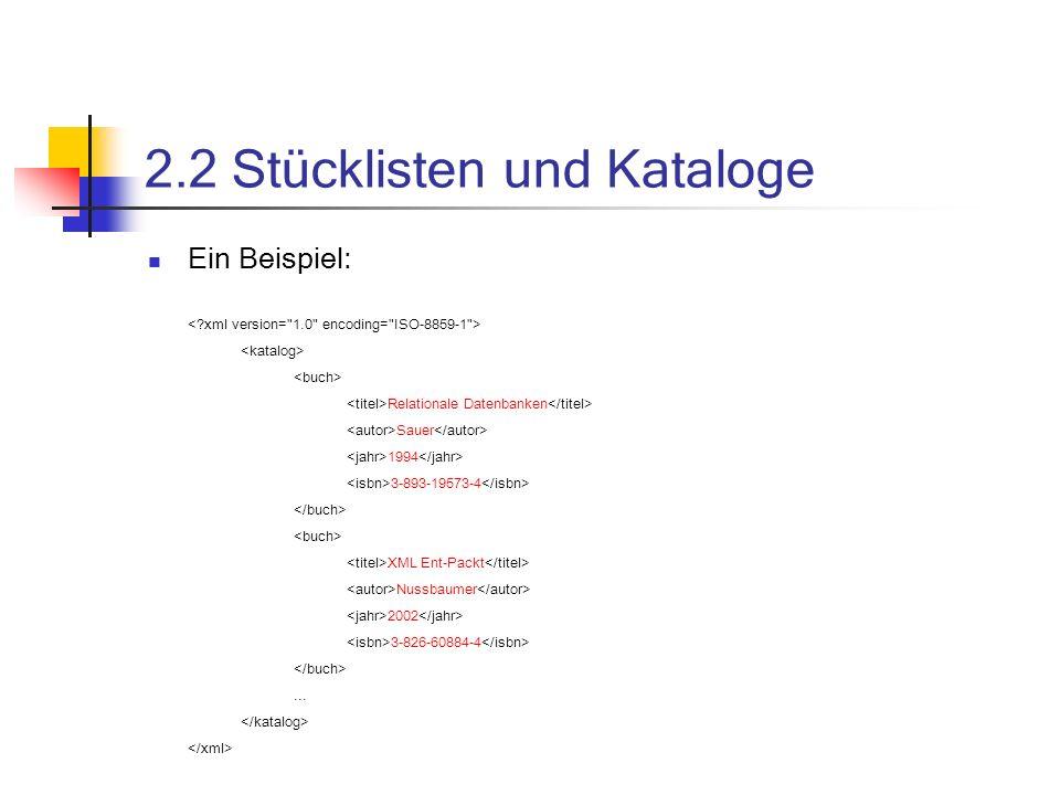 2.2 Stücklisten und Kataloge