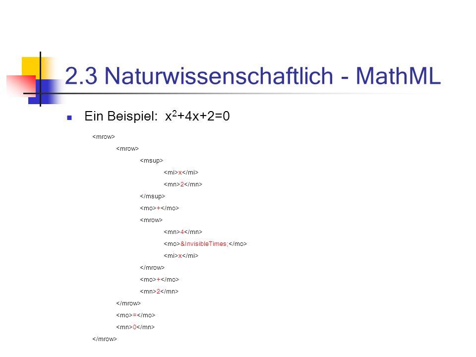 2.3 Naturwissenschaftlich - MathML
