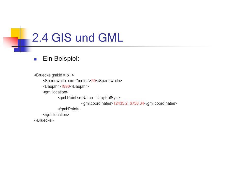 2.4 GIS und GML Ein Beispiel: <Bruecke gml:id = b1 >