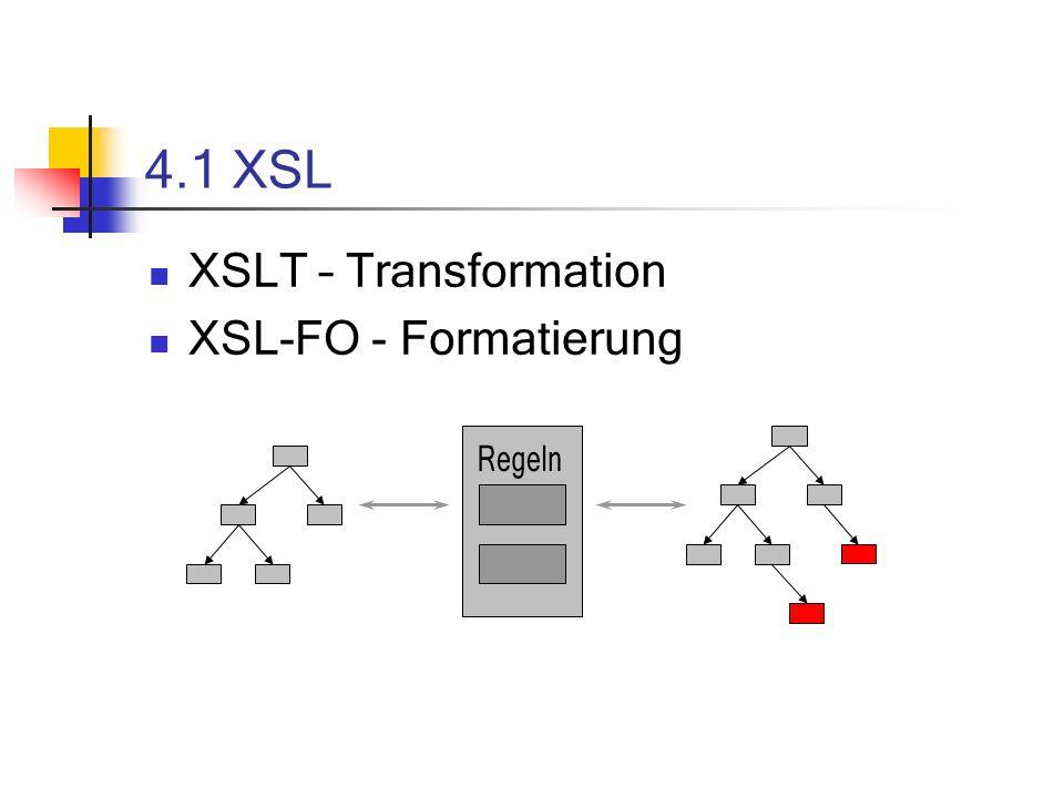 4.1 XSL XSLT – Transformation XSL-FO - Formatierung Regeln