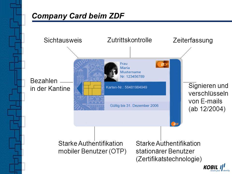 Company Card beim ZDF Sichtausweis Zutrittskontrolle Zeiterfassung