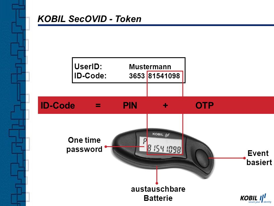 KOBIL SecOVID - Token ID-Code = PIN + OTP UserID: Mustermann
