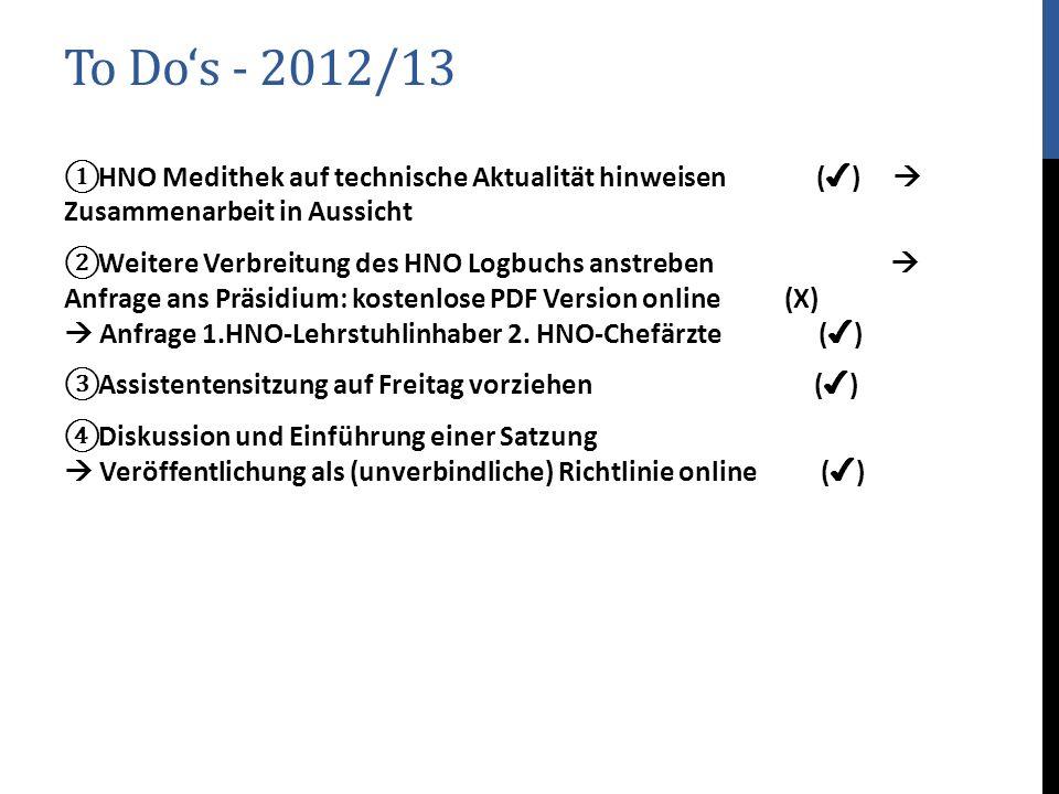 To Do's - 2012/13 HNO Medithek auf technische Aktualität hinweisen (✔)  Zusammenarbeit in Aussicht.