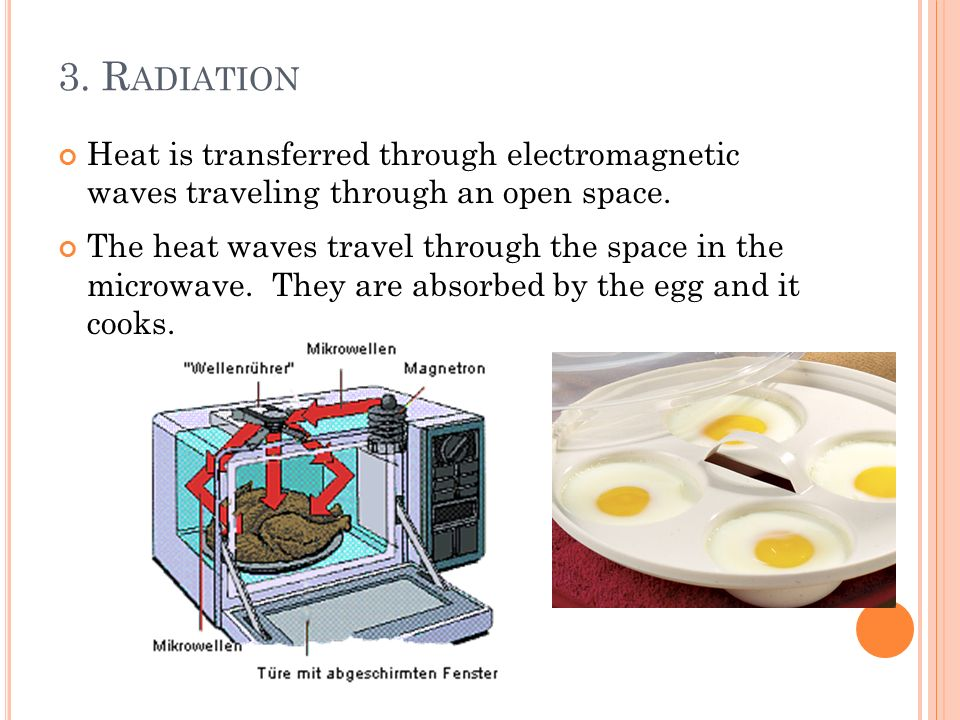 3. Radiation Heat is transferred through electromagnetic waves traveling through an open space.