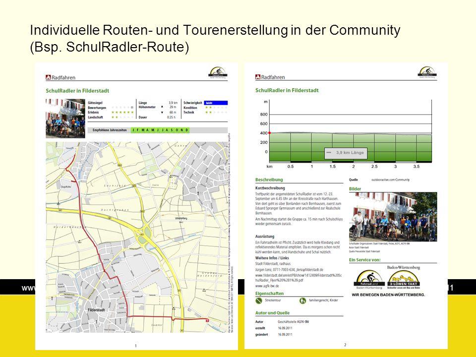 Individuelle Routen- und Tourenerstellung in der Community (Bsp
